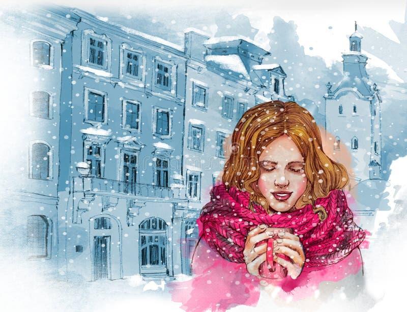 Mooi meisje met kop van hete koffie of thee Oldcityachtergrond De illustratie van de waterverf vector illustratie