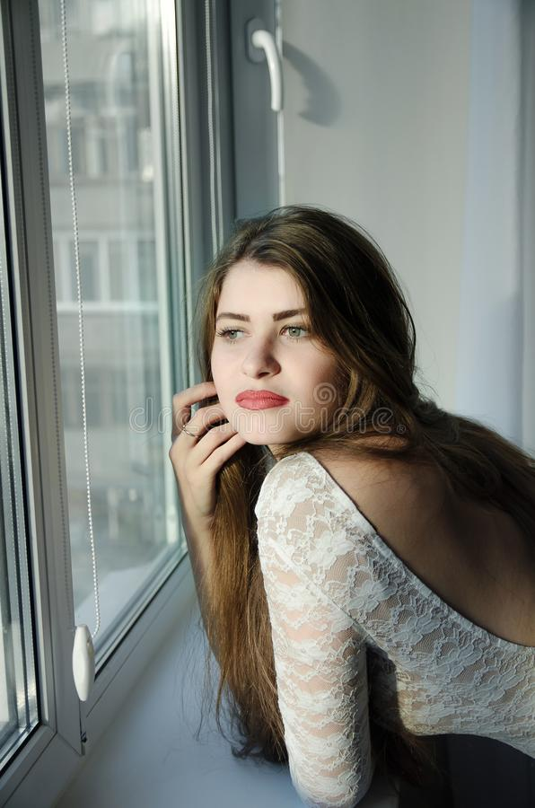 Mooi meisje met lang bruin haar stock foto