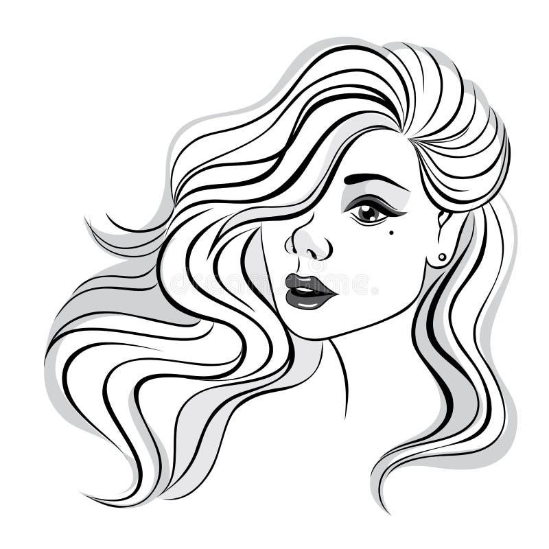 Mooi meisje met lang en krullend haar vector illustratie