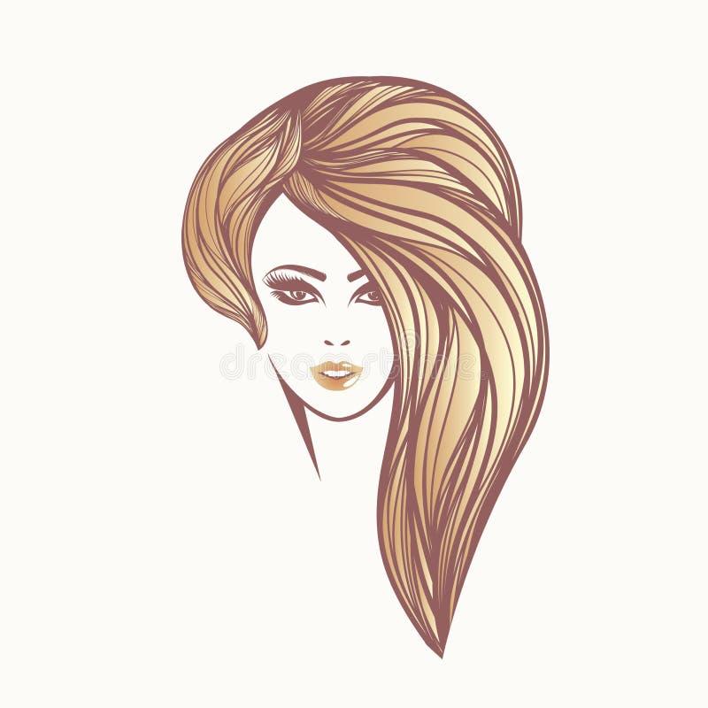 Mooi meisje met lang, glanzend blondehaar en gewaagde make-up stock illustratie