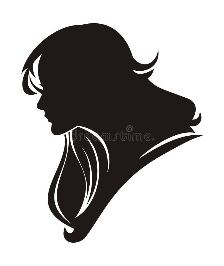 Mooi meisje met lang haarsilhouet royalty-vrije stock fotografie