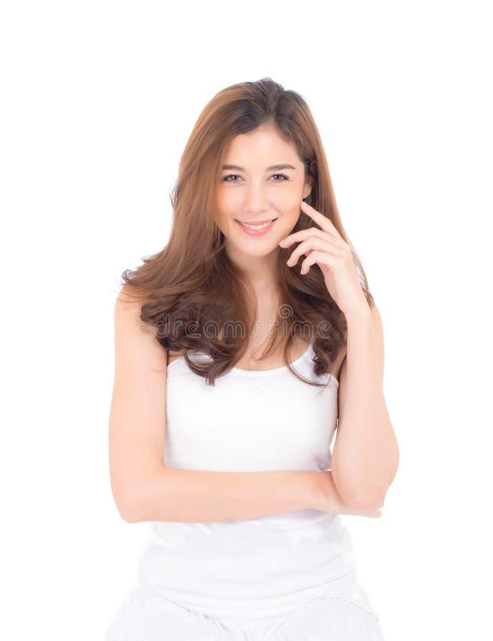 Mooi meisje met make-up, vrouwen en huid het concept van zorgschoonheidsmiddelen/aantrekkelijk Aziatisch meisje op geïsoleerd gez stock fotografie