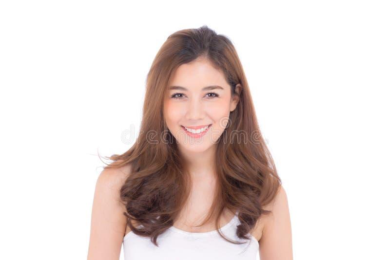 Mooi meisje met make-up, vrouwen en huid het concept van zorgschoonheidsmiddelen/het aantrekkelijke meisje van Azië op geïsoleerd stock afbeeldingen