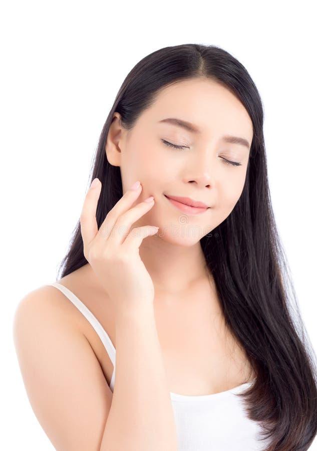 Mooi meisje met make-up, vrouwen en huidzorg kosmetisch concept/aantrekkelijk Aziatisch meisje op geïsoleerd gezicht royalty-vrije stock foto