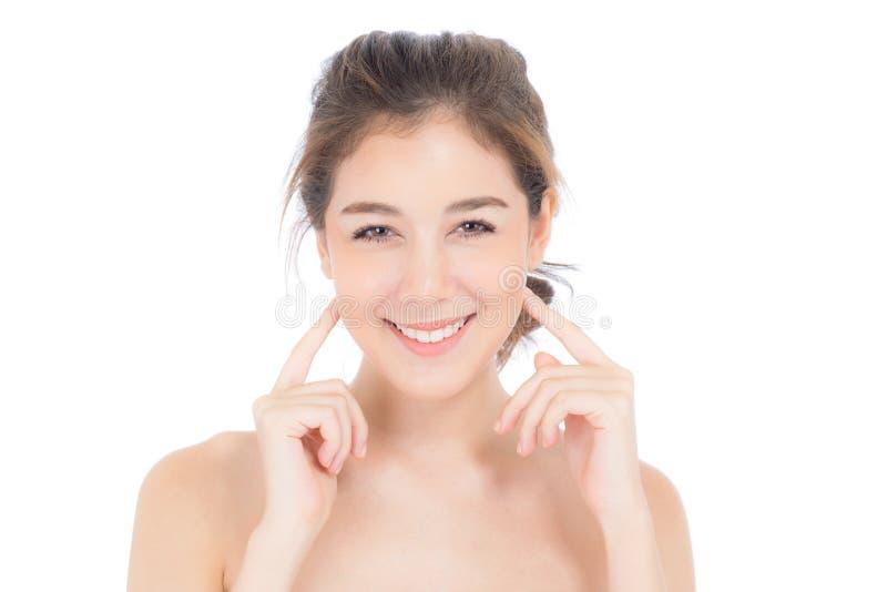 Mooi meisje met make-up, vrouwen en huidzorg kosmetisch concept/aantrekkelijk Aziatisch meisje op geïsoleerd gezicht royalty-vrije stock afbeelding