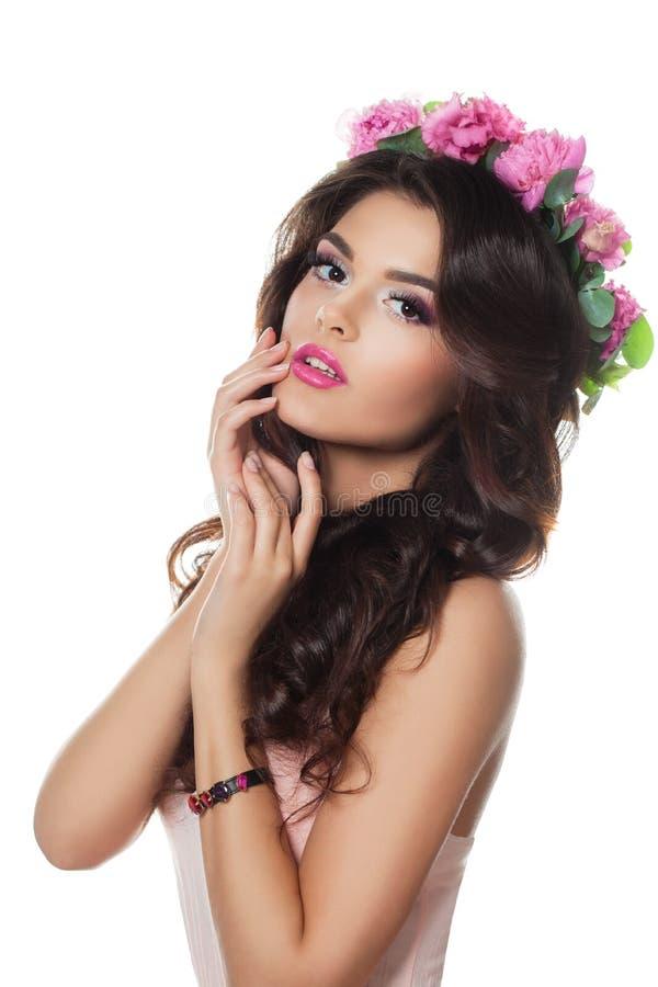 Mooi Meisje met Prom-Kapsel en Perfecte Make-up royalty-vrije stock afbeelding