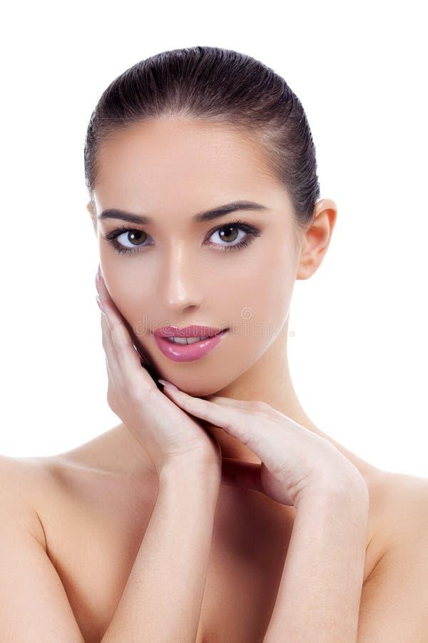 Mooi meisje met schone en verse huid De zorgconcept van de huid stock fotografie