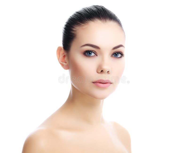 Mooi meisje met schone verse huid stock foto's