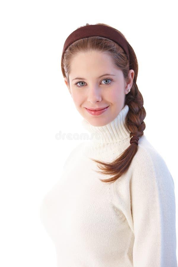 Mooi meisje met vlecht het glimlachen royalty-vrije stock foto