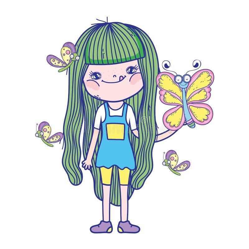 Mooi meisje met vlinderskarakters vector illustratie