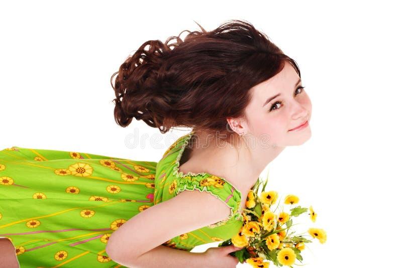 Mooi meisje met wilde bloem. royalty-vrije stock fotografie