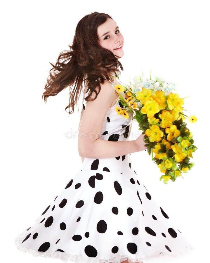 Mooi meisje met wilde bloem. royalty-vrije stock foto