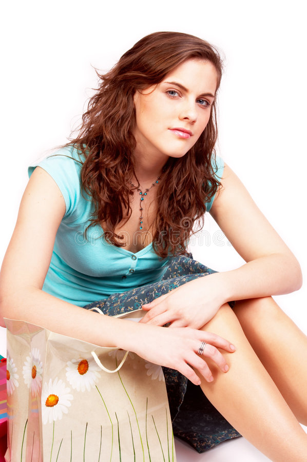Mooi meisje met zakken royalty-vrije stock afbeelding