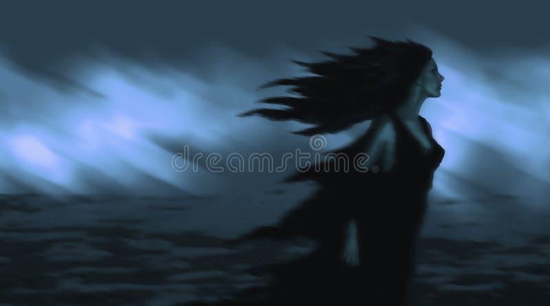 Mooi meisje met zwart haar die zich in de wind ontwikkelen royalty-vrije illustratie