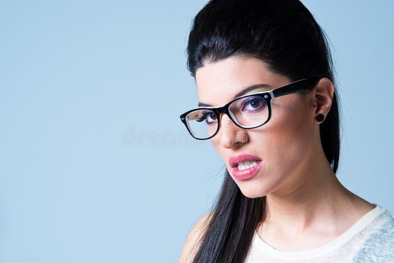 Mooi Meisje met Zwarte Glazen royalty-vrije stock afbeelding