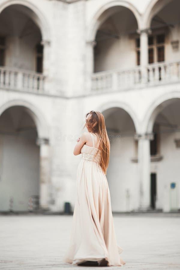 Mooi meisje, model met het lange haar stellen in oud kasteel dichtbij kolommen Krakau Vavel stock afbeeldingen