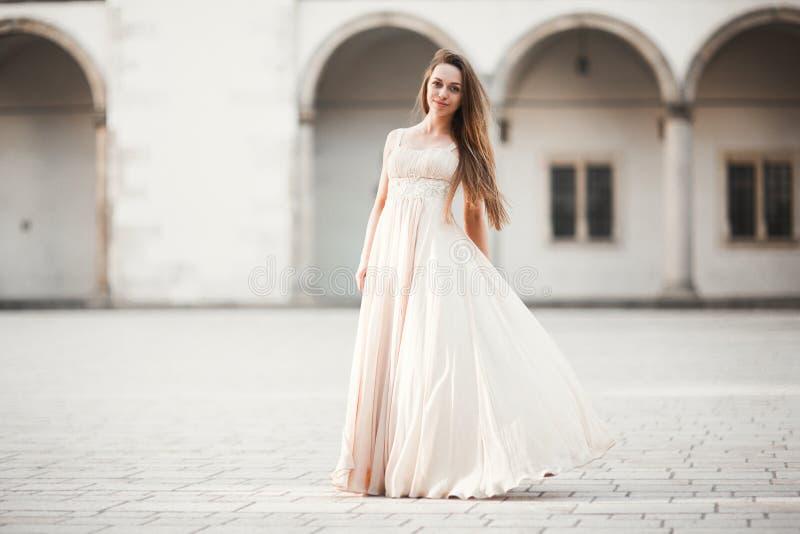 Mooi meisje, model met het lange haar stellen in oud kasteel dichtbij kolommen Krakau Vavel royalty-vrije stock foto