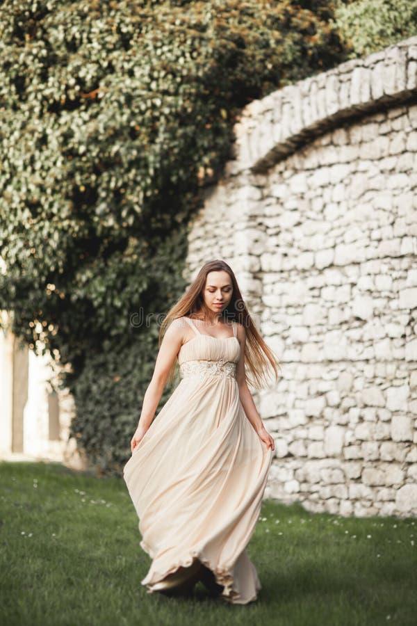 Mooi meisje, model met het lange haar stellen in park dichtbij grote muur Krakau Vavel stock foto