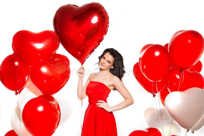 Mooi meisje, modieuze mannequin met ballons in de vorm stock fotografie