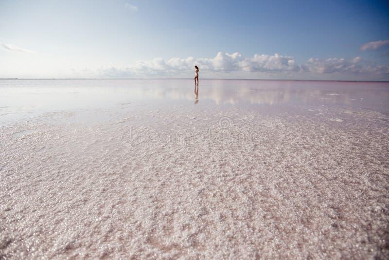 Mooi meisje op een roze meer stock afbeeldingen