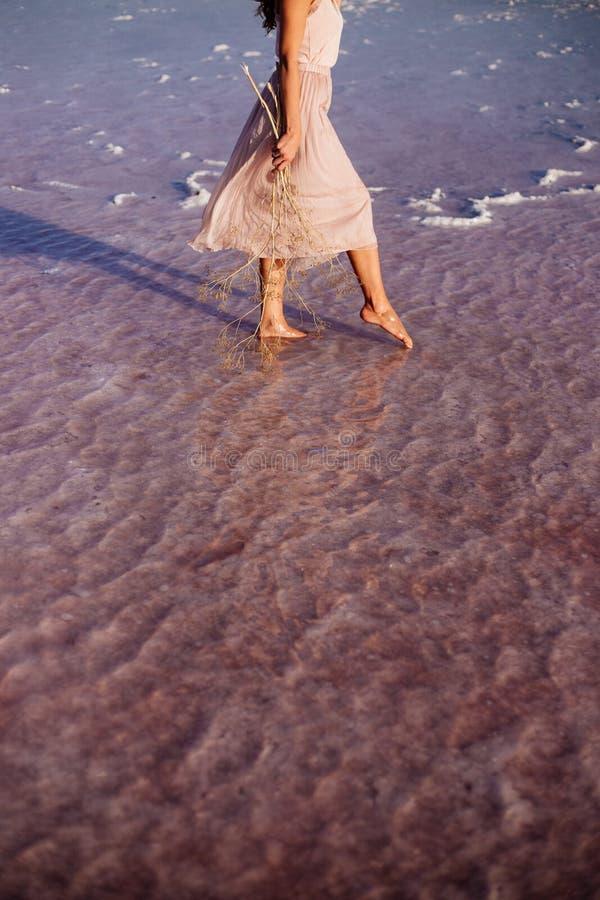 Mooi meisje op een roze meer royalty-vrije stock foto