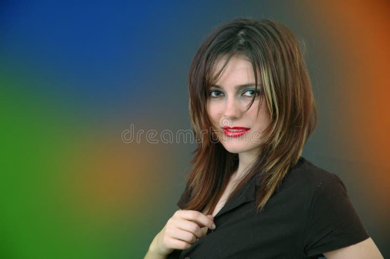Mooi Meisje op Kleurrijke Achtergrond stock afbeelding