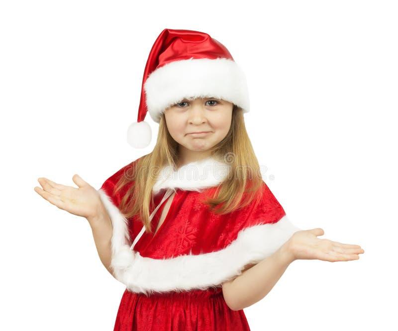 Mooi meisje in Santa Claus-kostuum op witte backgroun stock foto