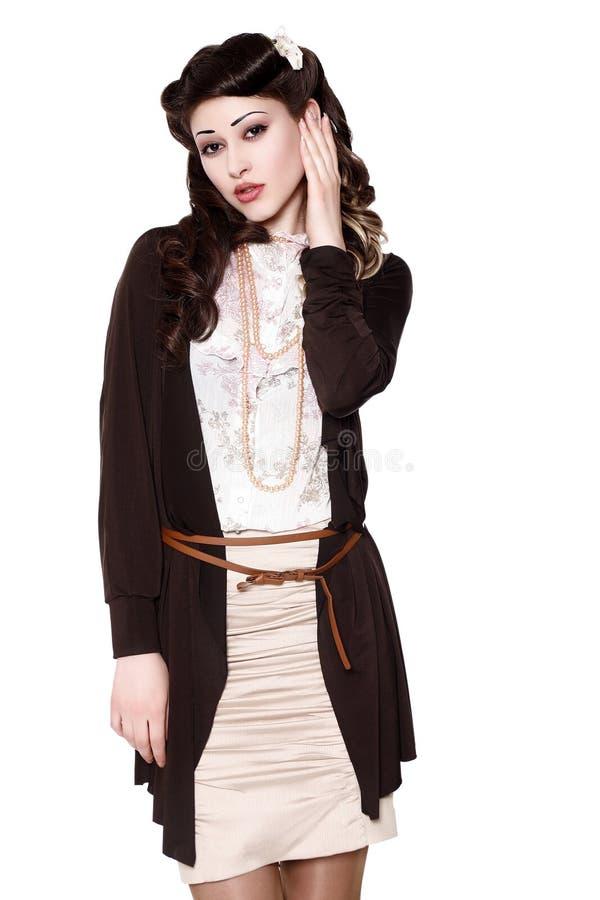 Mooi meisje in uitstekende kleren royalty-vrije stock afbeeldingen