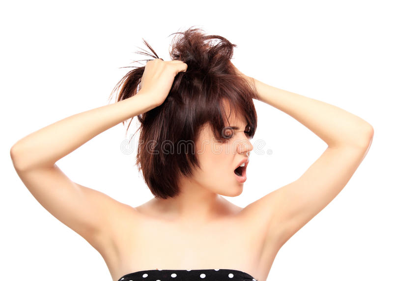 Mooi Meisje wat betreft Haar Gezicht Geïsoleerd op een witte achtergrond stock foto