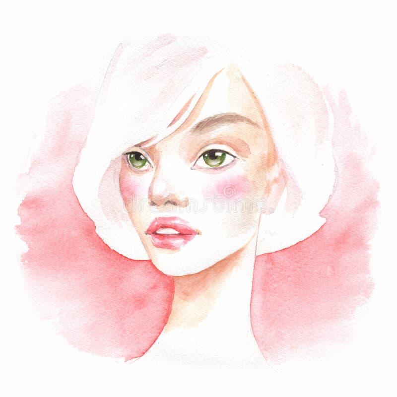 Mooi meisje Waterverfportret 2 stock illustratie