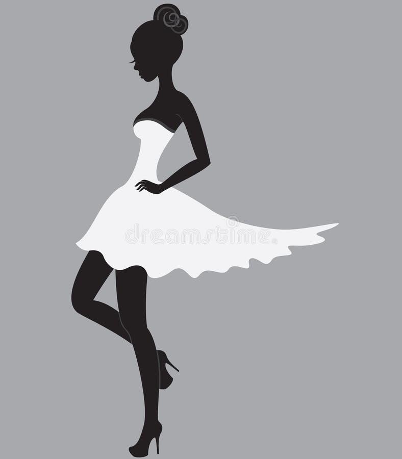 Mooi meisje in witte kleding royalty-vrije illustratie