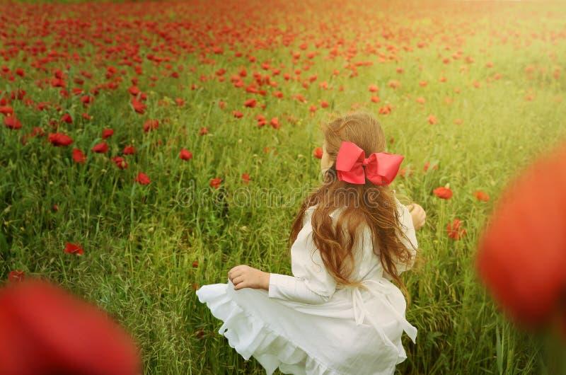 Mooi meisje in witte kleding die zich op papavergebied bevinden royalty-vrije stock fotografie