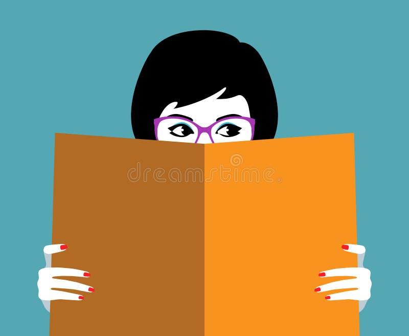 Mooi meisjesgezicht achter groot boek royalty-vrije illustratie