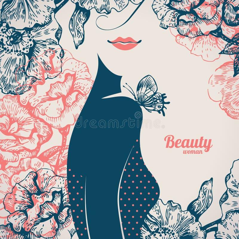 Mooi meisjessilhouet retro wijnoogst royalty-vrije illustratie