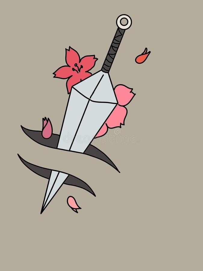 Mooi mes met bloemenachtergrond stock illustratie