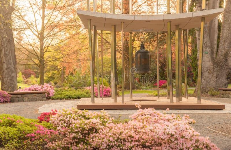 Mooi milieu in de botanische tuin van Christchurch in Christchurch, het gebied van Canterbury van Nieuw Zeeland bij zonsondergang royalty-vrije stock afbeelding