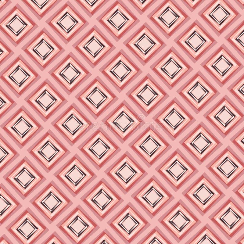 Mooi modern diamanten naadloos patroon in perzik en roze kleuren stock illustratie
