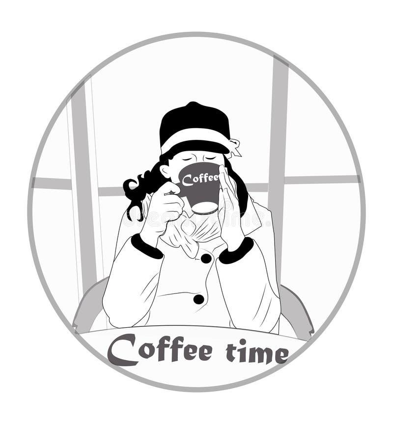 Mooi, modern, jong meisje die heerlijke, hete koffie binnen drinken royalty-vrije illustratie
