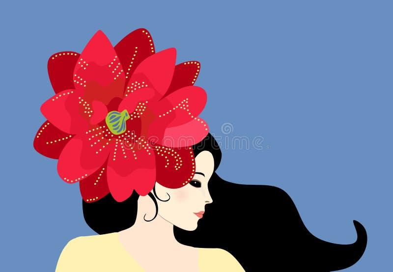 Mooi modieus Kaukasisch meisje met grote clematissenbloem in haar haar Profielportret op blauwe achtergrond wordt ge?soleerd die stock illustratie