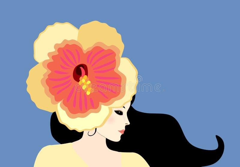 Mooi modieus Kaukasisch meisje met grote geeloranje hibiscusbloem als hoed op haar hoofd Profielportret op blauw wordt geïsoleerd vector illustratie