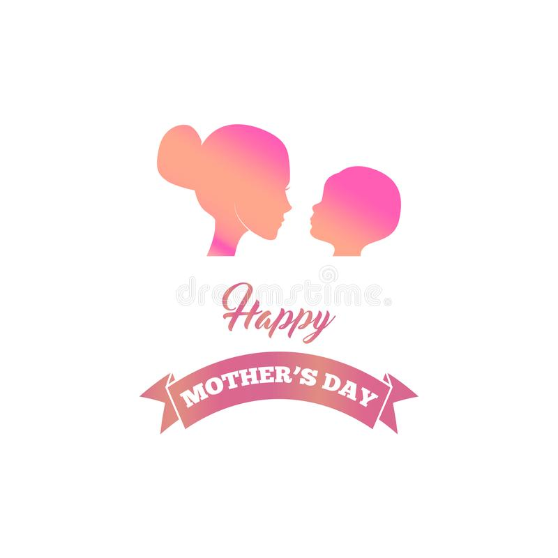 Mooi moedersilhouet met haar baby, kind, jong geitje De groetkaart van de moeders Dag Vector vector illustratie