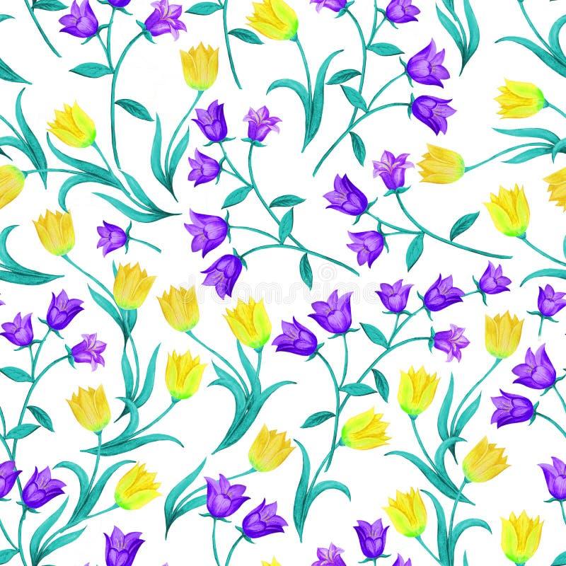 Mooi naadloos bloemenpatroon Blauwe klokken en gele tulpen die willekeurig op witte achtergrond worden gevestigd royalty-vrije illustratie