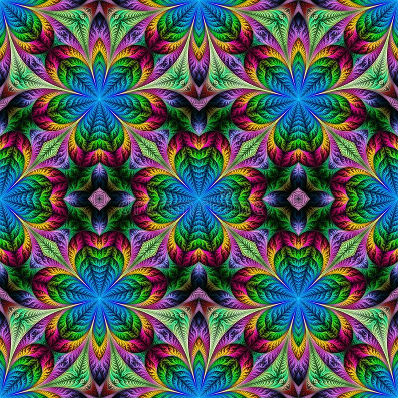 Mooi naadloos bloempatroon in fractal ontwerp Kunstwerk voor royalty-vrije illustratie