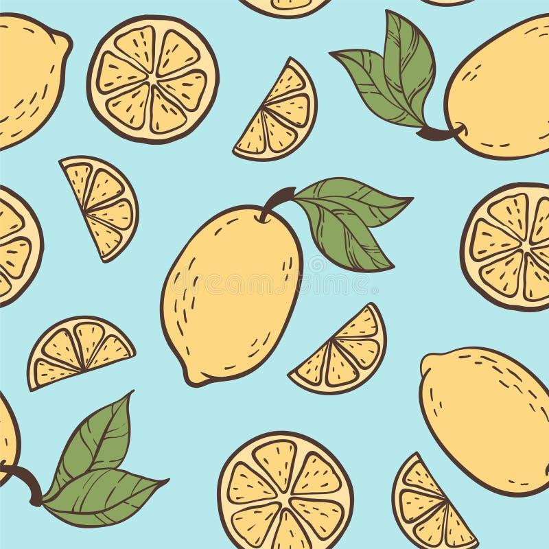 Mooi naadloos krabbelpatroon met de uitstekende gele schets van kleuren leuke citroenen Hand getrokken in achtergrond ontwerpacht royalty-vrije illustratie