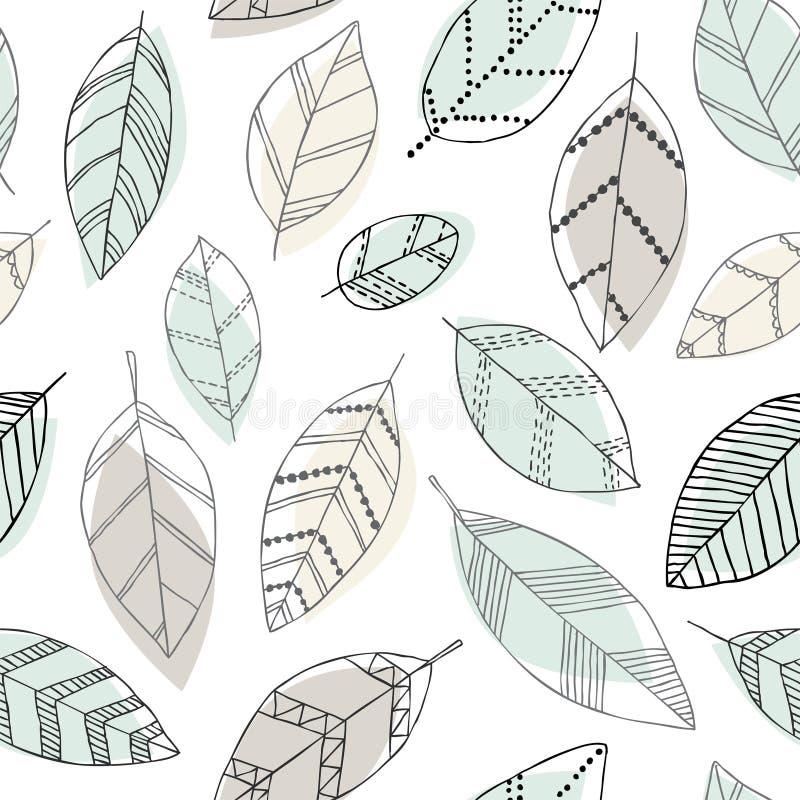 Mooi naadloos krabbelpatroon met uitstekende bladerenschets ontwerp achtergrondgroetkaarten en uitnodigingen voor het huwelijk, b stock illustratie
