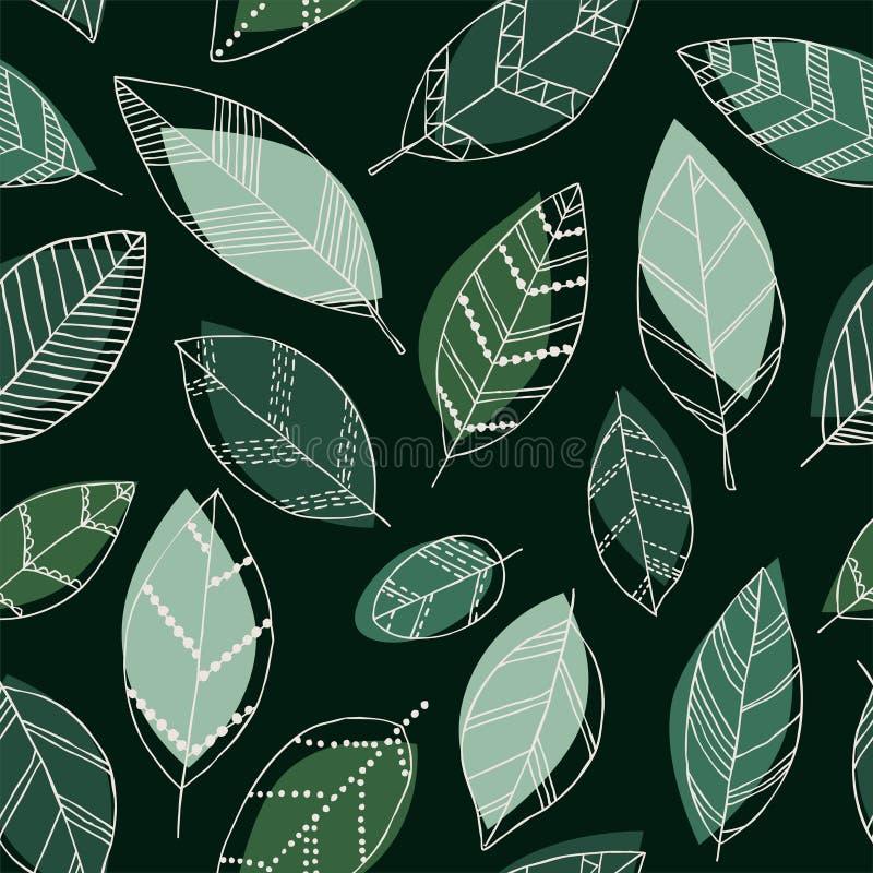 Mooi naadloos krabbelpatroon met uitstekende bladerenschets ontwerp achtergrondgroetkaarten en uitnodigingen voor het huwelijk, b vector illustratie