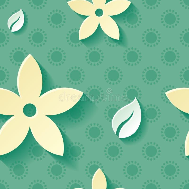 Mooi naadloos patroon als achtergrond groen met gele tot bloei komende bloem en wit blad Bloemen modern behang royalty-vrije illustratie