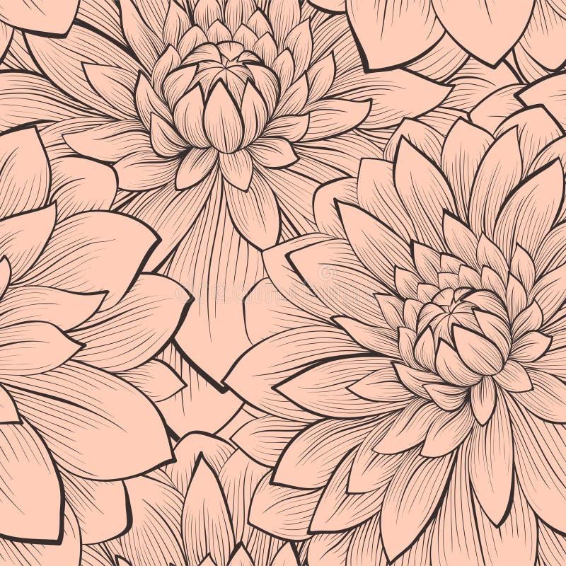 Mooi naadloos patroon met bloeiende dahlia'sclose-up. royalty-vrije illustratie