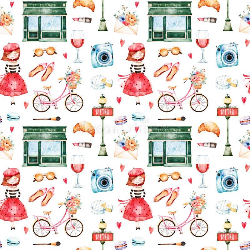 Mooi naadloos patroon met camera, lippenstift, hoed, fiets, jong meisje vector illustratie