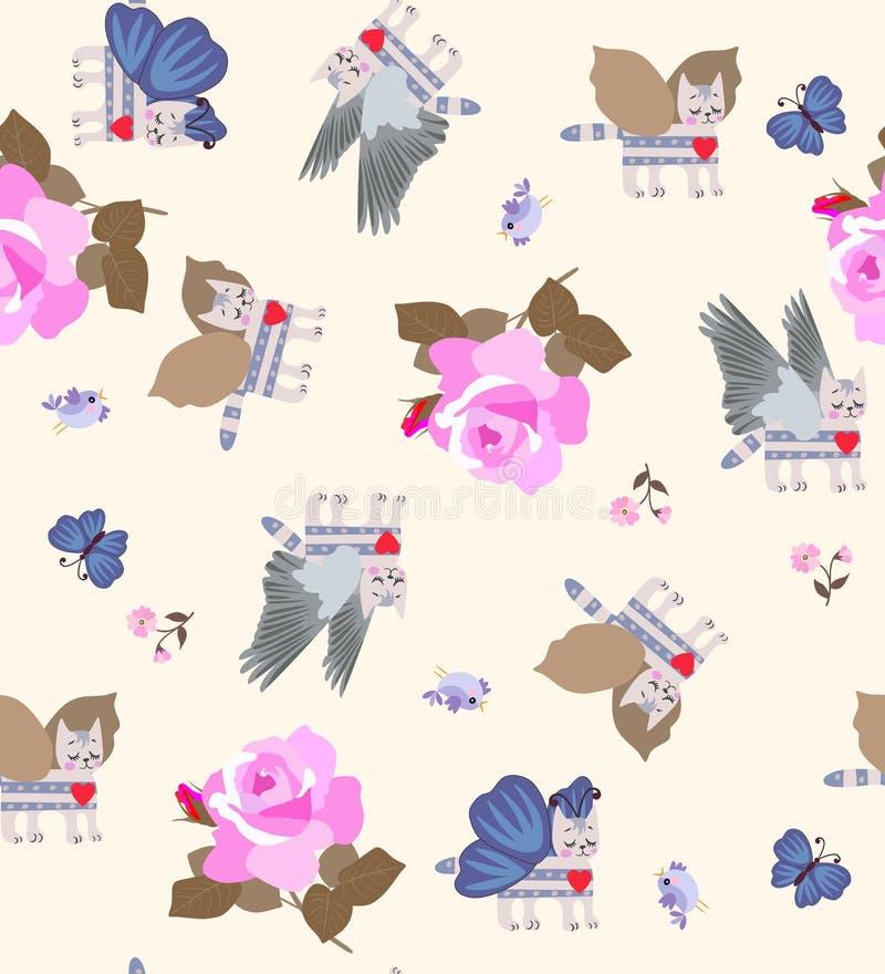 Mooi naadloos patroon met gevleugelde gestreepte katkatjes, kleine vliegende vogels en reusachtige roze rozen op lichte beige ach stock illustratie